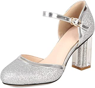 e8ced2a76 Kaloosh Women s Glitter Mary Janes Pumps Block High Heel Sequin Pumps  Wedding Shoes Court Shoes