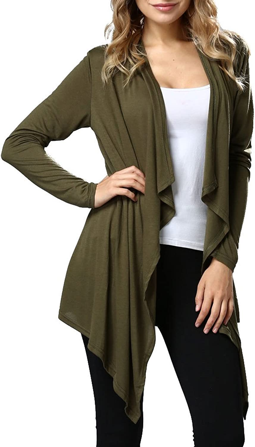 Ruyan Women's Long Sleeve Draped Open Front Solid Spring Cardigan