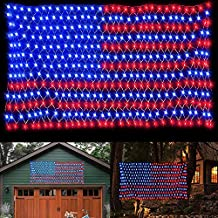 MINIAO American Flag Lights, LED Flag Net Light with 420 LED 24V Plug-in Safe Voltage, Waterproof String Light for The United States July 4th Independence Day National Garden Patio Yard Decoration
