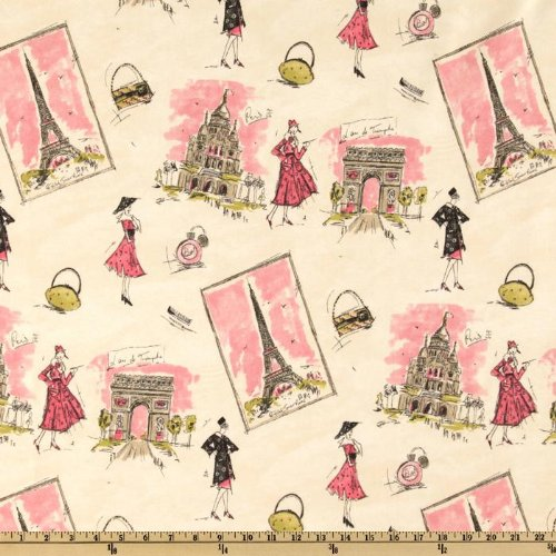 Waverly Tres Chic Black/Pink, Fabric by the Yard