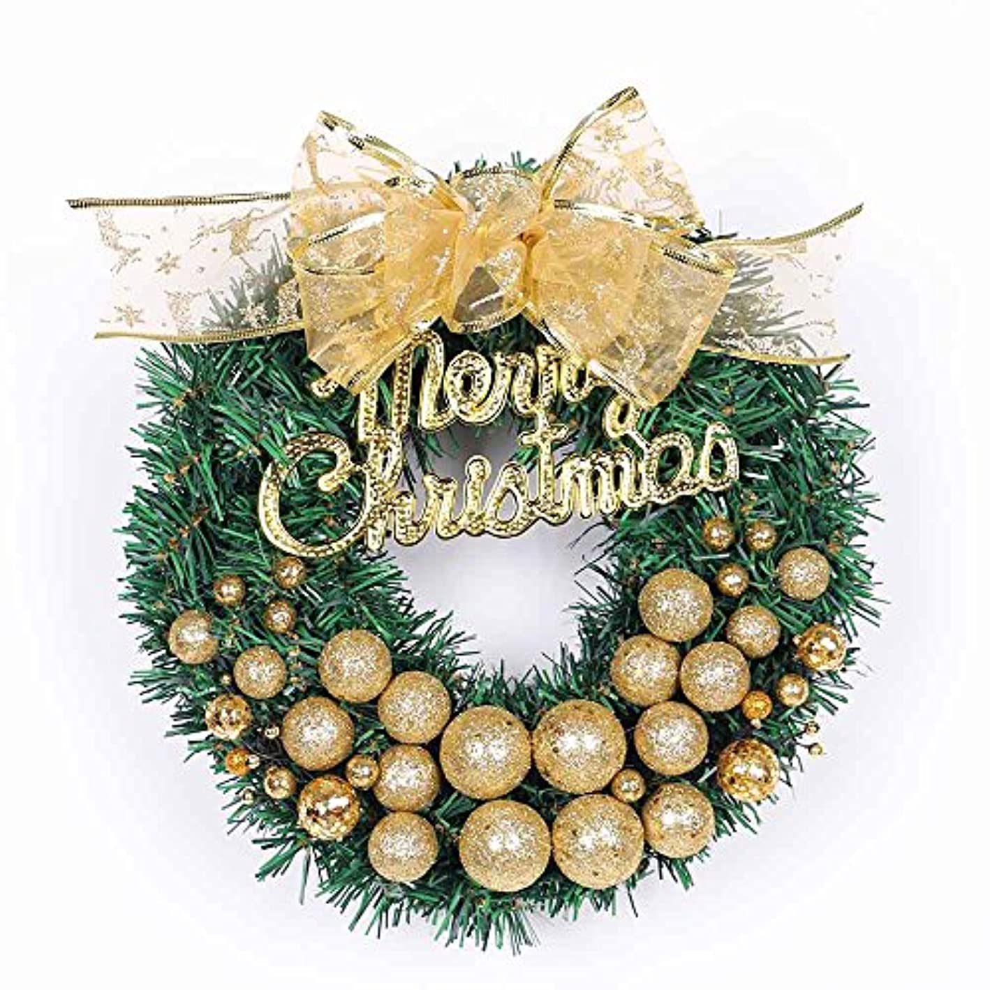 Icocol Elegant Icocol Decorative Front Door Wreath 12 Inch - Year Round Beautiful Silk Wreath Transforms Front Door Decor, Handcrafted with Care, Storage Gift Box Included (Gold)