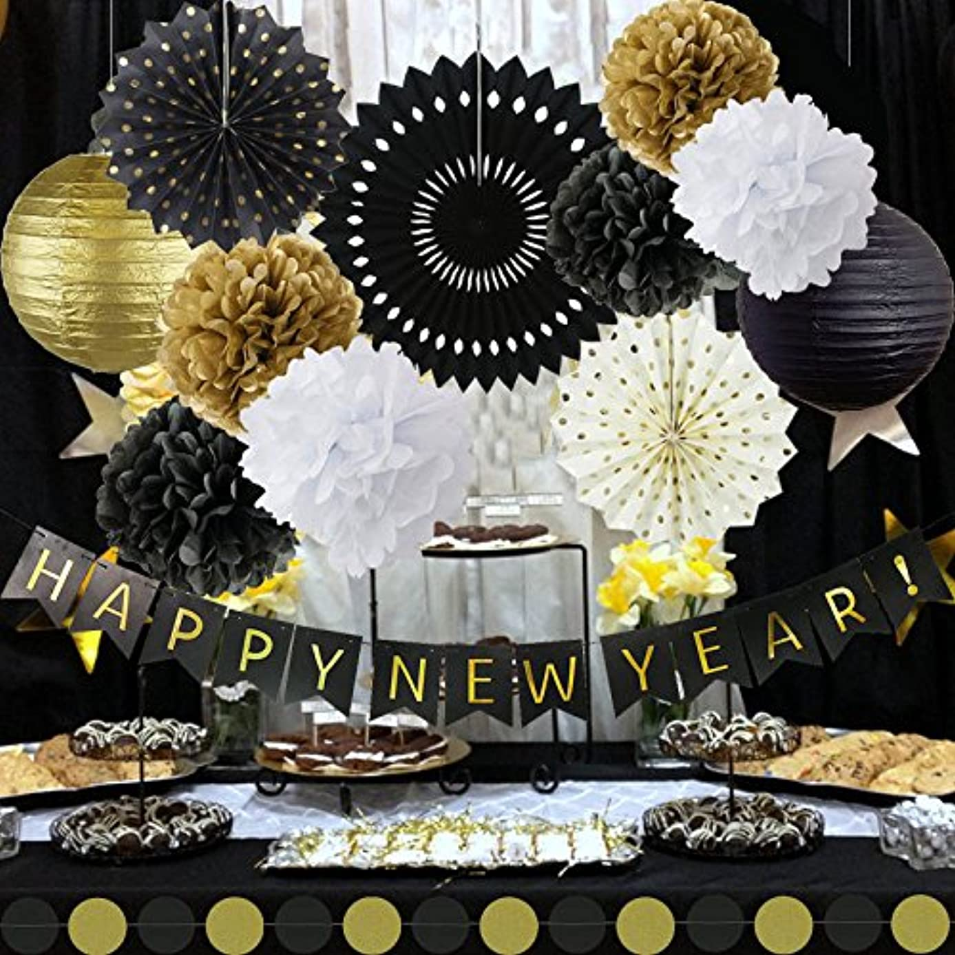 Happy New Year Decorations Happy New Year Banner Chinese Paper Lanterns Tissue Paper Flowers Pom Poms Hanging Paper Fans New Years Eve Party Decorations Kit