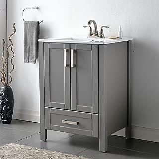 "VCCUCINE Modern 24"" Dark Gray Bathroom Sink Vanity Combo, Stand Bathroom Cabinet with Ceramic Sink"