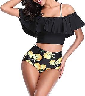 Sykooria Traje de Baño Mujer Bañador Top Flounce Bikini Set Acolchado con Estampado Floral Cintura Alta Push up con Rellen...