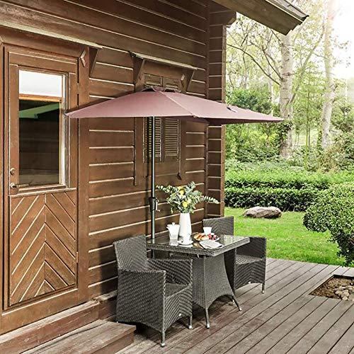 ZLI Parasol de Jardin Chalet Pergola Parapluie de Table Demi-Rond, Patio de 2.7m/9ft Jardin/Parasol Mural avec Mât Métallique et Mécanisme de Manivelle (Hors Base)