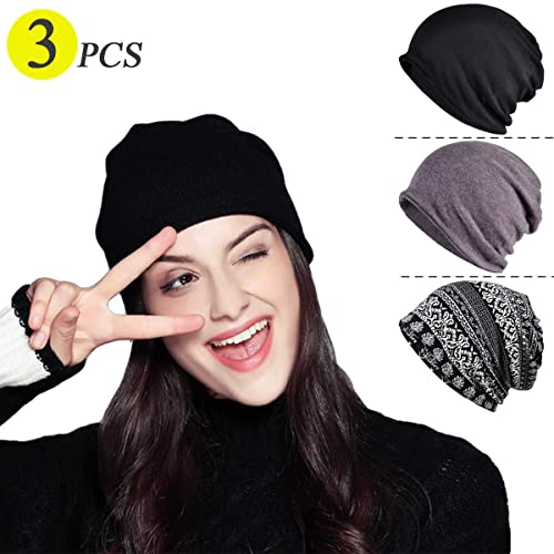 cc34af071e1be Chemo Caps for Women Baggy Slouchy Chemo Scarf Hat Beanie Skull Cap 3 Pack