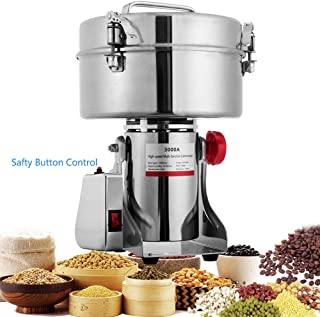 BI-DTOOL 3000g Electric Grain Mills Grinder 304 Stainless Steel Commercial Spice Grinder for Kitchen Herb Corn Spice Pepper Coffee with Button Control