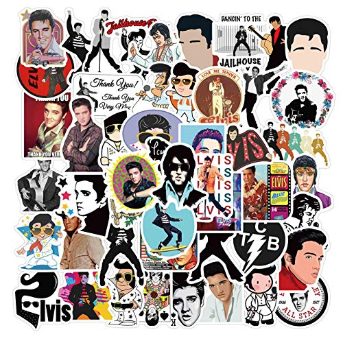 Bestomrogh Fashion Elvis Presley Themed Vinyls Stickers Novelty Decals Set for Laptop Skateboard Suitcase Guitar Moto Car Bike(Set 02)