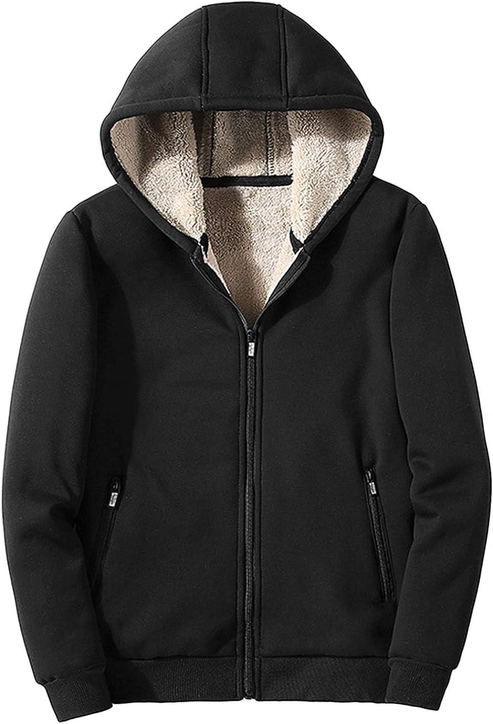 HaoMay Men's Winter Full-Zip Sherpa Fleece Lined Hooded Sweatshirts Jacket
