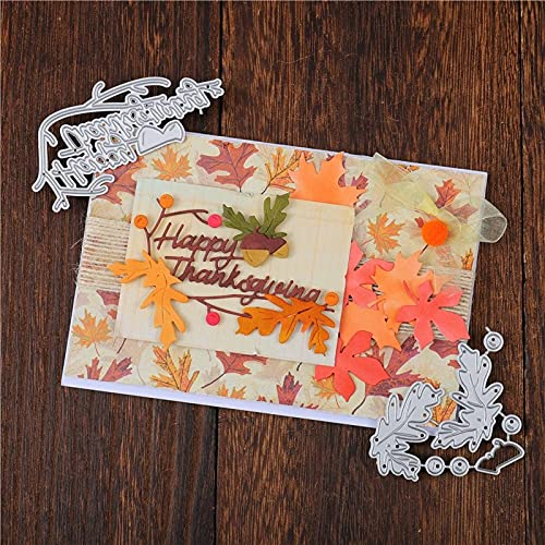 Hi RC - Happy Thanksgiving Metal Cutting Dies Leaf AcornEtched Dies Craft Paper Card Making Scrapbooking Embossing-Die Cuts