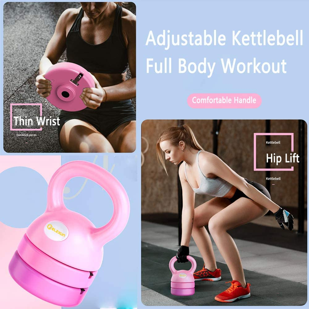 9lbs 12lbs for Women Beginners 8lbs ELZXUN Adjustable Kettlebell Weights 5lbs Fitness Exercise for Home Gym Full-Body Workout Strength Training Equipment Kettlebell