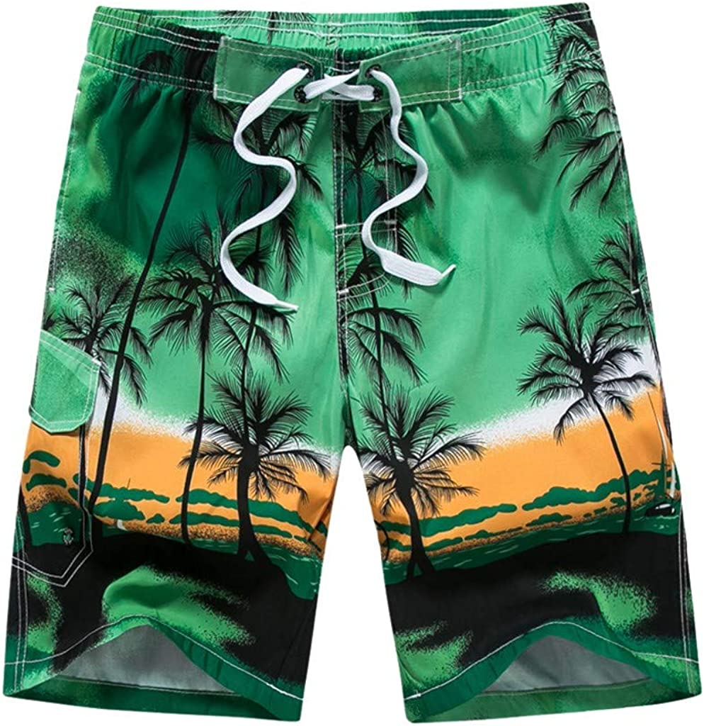 Forthery Mens Swim Trunks Quick Dry Summer Beach Board Shorts with Lining(Green,XXL)