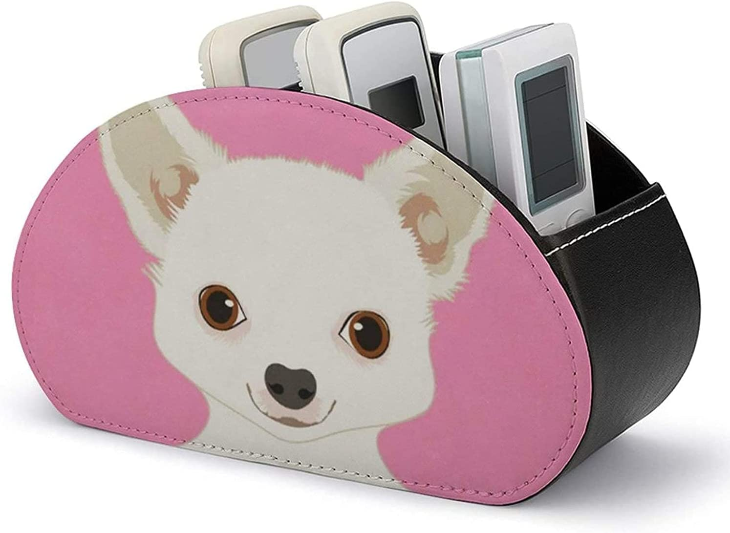 With 5 Compartments Department store - Remote Holder Max 48% OFF Control Leather PU Chihuahua