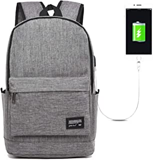 ZGQA Men's Business Charging Canvas Multi-Function Waterproof Computer Backpack (Color : Gray, Size : 45cm*32cm*18cm)
