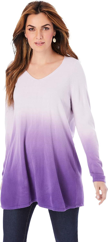 Roamans Women's Plus Size Fine Gauge Ombré Sweater V-Neck Pullover