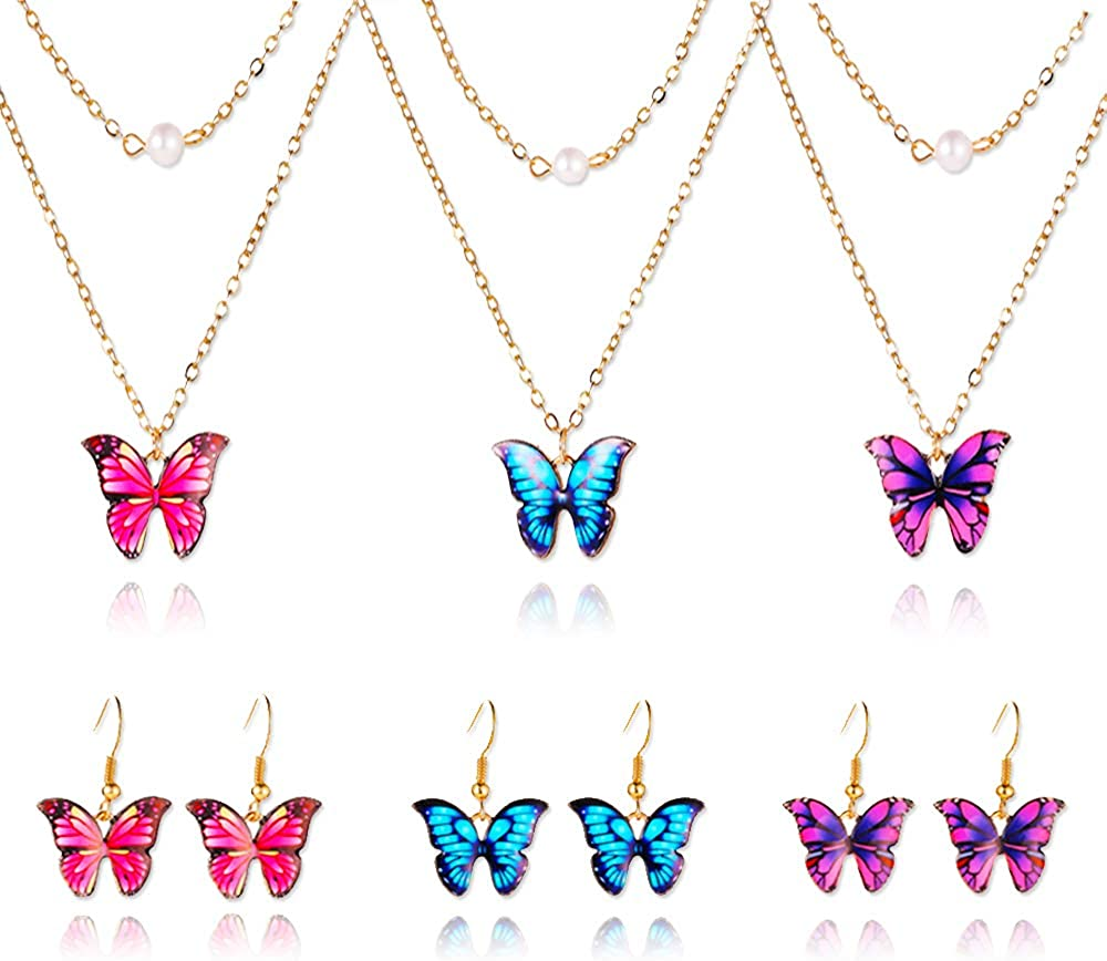 yansport Butterfly Necklace Earrings Set, 3PC Layered Butterfly Pendant Pearl Necklace, Fashion Chain Necklaces Jewelry Gift for Women Girls