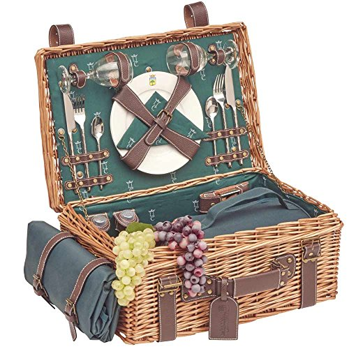 Les Jardins de la Comtesse - Picknickkorb Champs-Elysées aus Weidengeflecht und echtem Leder - Dunkelgrün - Für 2 Personen - Komplett Ausgestattet - Keramikteller und Weingläsern - 48 x 33 x 21 cm