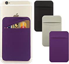 3Pack Cell Phone Card Holder[Double Secure With Pocket for ID/Credit Cards] for Back of Phone,Stick On Card Wallet Sticker Stretchy Lycra Fabric for iPhone,Android and Smartphones-Purple,Silver,Black