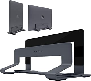 Macally Vertical Laptop Stand for Desk Space - Adjustable Vertical Stand Cradle - Laptop Holder - Apple MacBook Pro Air/Asus Chromebook Flip Samsung Notebook 9 Lenovo ThinkPad Dell XPS Acer Switch