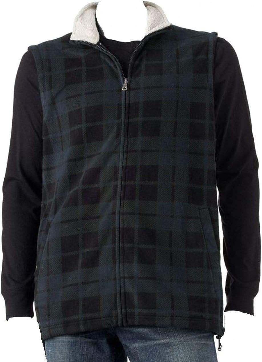 Croft & Barrow Mens Classic Fit Arctic Fleece Vest Blue Black Plaid Sz XL