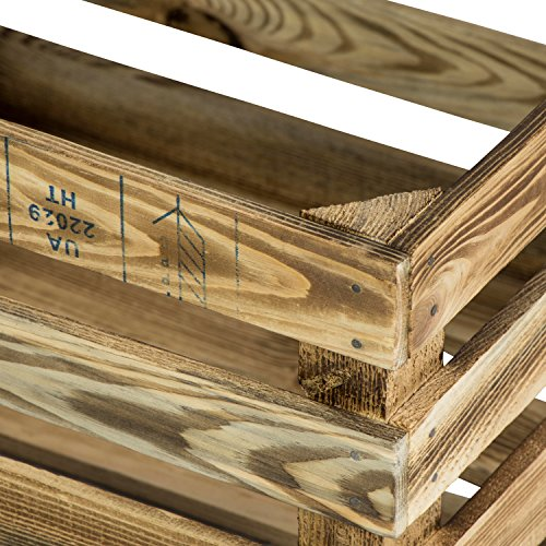 LAUBLUST 7er Set Vintage Holzkisten - Kisten in 2 Größen, 50x40x30cm / 40x30x25cm, Geflammt, Neu, Unbenutzt | Möbel-Kiste | Wein-Kiste | Obst-Kiste | Apfel-Kiste | Deko-Kiste aus Holz - 2