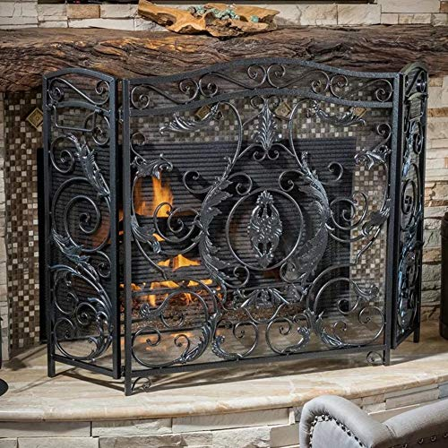 Purchase Heavy Duty Fire Place Guard Fireplace Screen Spark Flame Guard Arched 3 Panel Folding Desig...