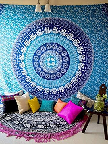 Blue Elephant Mandala Tapisserie murale à suspendre hippie Bohemian Couvre-lit, indien Ombre Hippy Parure de lit pour chambre à coucher, chambre d'étudiant salle Art mural ou Home Decor, Reine Taille Boho propagation