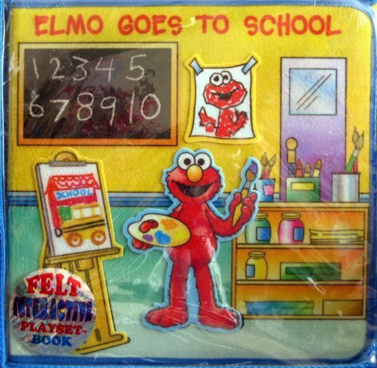 Soft Play Felt Playset Book  Elmo Goes to School
