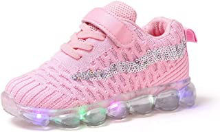 Sweet Trainers LED Breathable Running Sneakers for 1-6T Little Kids Toddler Baby Girls Light Up Sport Crib Shoes