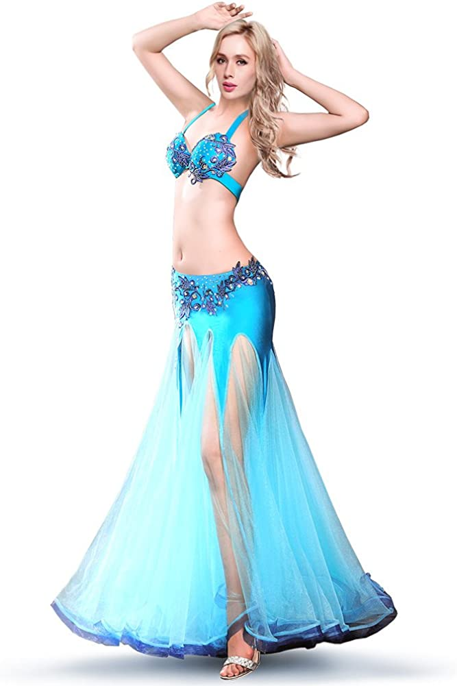 ROYAL SMEELA Belly Dance Costume for Women Belly Dancing Skirts Rhinestone Bra Mermaid Skirt Bellydance Dancer Outfit Suits