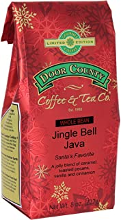 Door County Coffee, Holiday Flavored Coffee, Jingle Bell Java, Toasted Pecans with Creamy Caramel, Vanilla & Cinnamon Flavored Coffee, Limited Time, Medium Roast, Whole Bean Coffee, 8 oz Bag