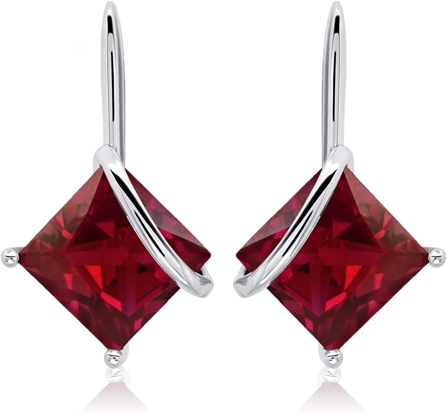 Arlington Mall 7x7mm Square-Cut Gemstone Drop Earrings All items in the store Sterling 925 Silver