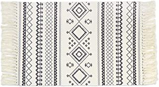 Floralsea Grey and Cream Bohemia Kilim Rug 2x4'2 Feet Hand Woven Chic Print Tassels Throw Rugs Floor Mat Carpet for Porch Living Room Laundry Room