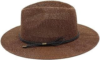 Hot Men Fashion Summer Casual Trendy Beach Sun Straw Panama Jazz Hat Cowboy Fedora hat Gangster Cap` TuanTuan (Color : Coffee, Size : 56-58CM)