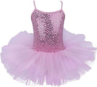 Alvivi Kids Girls Glitter Sequined Camisole Leotard Ballet Tutu Dress Ballerina Dance wear Costumes
