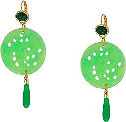 Gold/Jade Top/Large Carved Jade/Jade Drop Wire Earrings