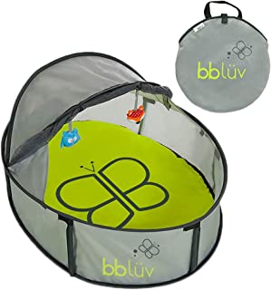 Nidö Mini Pop Up Play Tent and Canopy Sun Shelter with SPF 50 + Mosquito Net, Perfect for Infant at the Beach, Park, Camping or Playroom, Easy Fold Up for Travel with Removable Mat + 3 Toys Included