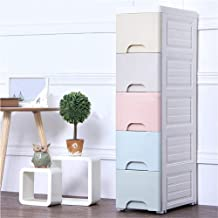 Storage Cabinet Plastic 5 Drawers Cabinets Standing Cupboard for Home Office Living Room Bathroom Kitchen Bar (Multi Color)