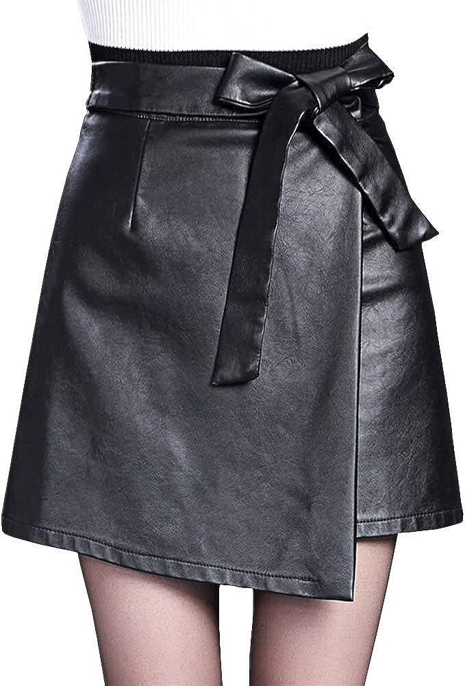 DISSA FS6922 Women Pu Leather Plus Size Mini A-Line Club Skirt
