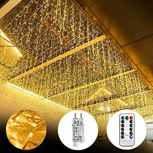 UISEBRT LED Lichterkette Lichtervorhang 10m für Außen Innen - 400 LEDs Warmweiß Lichterkettenvorhang mit 8 Modi, IP44 Wasserfest für...