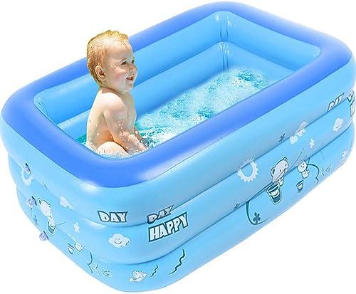 LHY Aufblasbarer Familien-Schwimmen-Mittelpool FüR Kinder, Aufblasbarer Badewannen-Baby-Rechteckiger Swimmingpool-Sommer-Wasser-Spaß Mit Aufblasbarem Weißem Boden