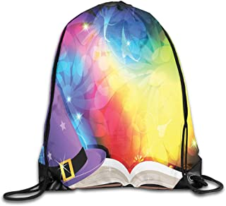 Drawstring Backpack Sports Gym Bag Bulk Bags Cinch Sacks Pull String Bags,Witch Hat And Spell Book On Colorful Abstract Fairytale Background Sorcery Magic,for Women Men Children Large Size