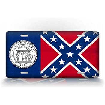 Georgia State Flag Vanity Metal Novelty License Plate Tag Sign by Smart Blonde
