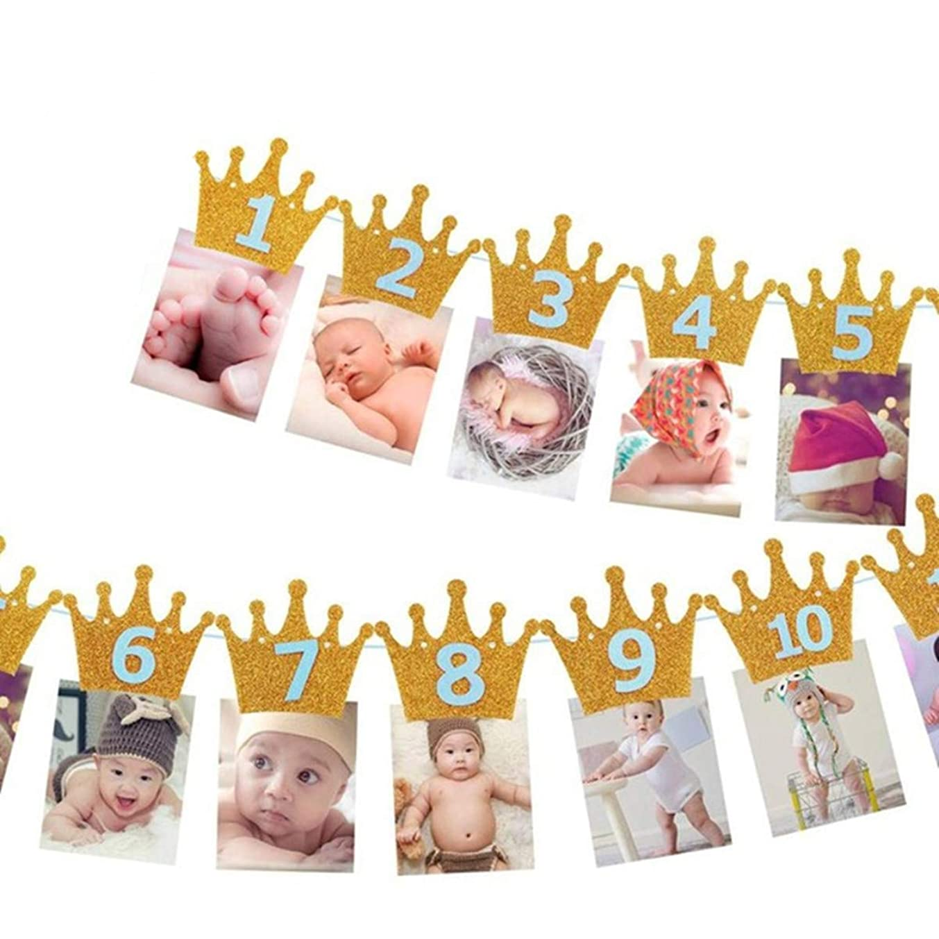 Symphony Birthday Photo Banner, 1st Birthday Baby Photo Banner Newborn to 12 Months Birthday Party Decor (Crown Golden Blue)