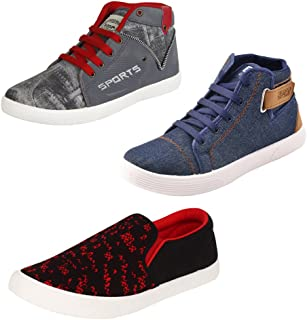 Earton Men's Canvas Casual Shoes with Loafer and Moccasins- Pack of 3