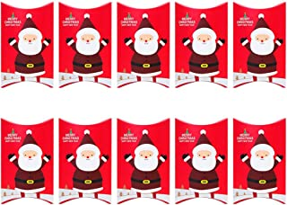 BESTOYARD 10pcs Christmas Candy Box Paper Pillow Candy Box with Santa Claus Patterns Gift Boxes for Xmas Holiday Party Favor Supplies (Red)