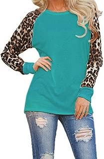 TIFENNY Fashion Womens Long Sleeve T-Shirt, Ladies Plus Size Leopard Blouse Oversize Tops(Gray,M)