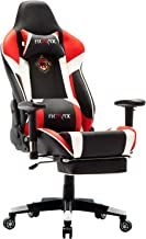 Ficmax Ergonomic Massage Gaming Chair Reclining Racing Office Chair High Back PU Leather Computer Desk Chair with Footrest Big and Tall Computer Gaming Chairswith Headrest and Lumbar Support