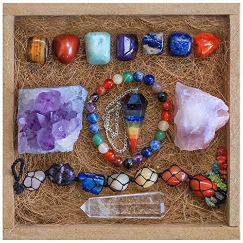 Healing Crystals and Stones Meditation Set - with 7 Tumbled Chakra Crystals - Crystals and Healing Stones - Includes Bonus Amethyst Cluster, Rose Quartz, Pendulum, Car Accessory & Chakra Bracelet