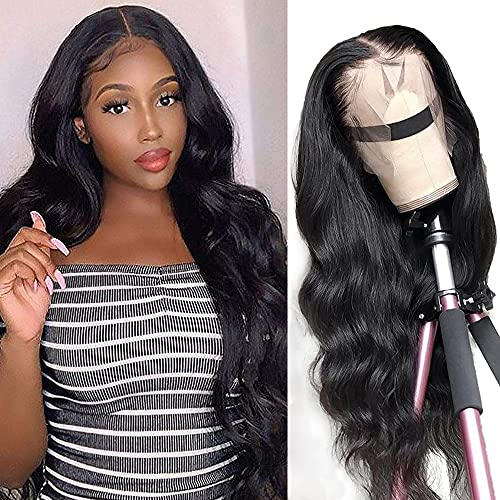 Body wave Lace Front Human Hair Wigs Brazilian Virgin Human Hair 13X4 Lace Frontal Wig 150% Density Pre Plucked With Baby Hair Natural Black For Black Women 24 Inch